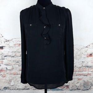 WHBM Black Long Sleeve SILK Ruffle Blouse